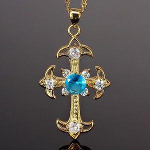 Cross CutTopaz Aquamarine 18K Gold Plated necklace